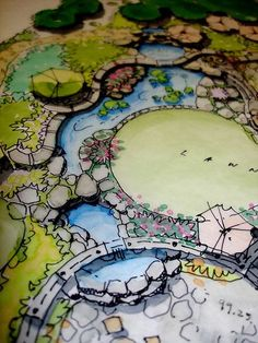 Water feature, landscape architecture drawing, architecture rendering, landscape layout, landscape a Landscape Architecture Drawing, Landscape Sketch, Landscape Design Plans, Landscape Drawings, Architecture Plan, Urban Landscape, Landscaping Design, Garden Architecture, Landscape Curbing