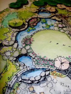 landscape plan rendering. landscape design plan.
