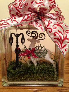 Christmas glass block with light pole $25 SOLD