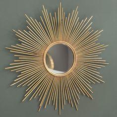 Miroir en métal doré H 99 cm ...