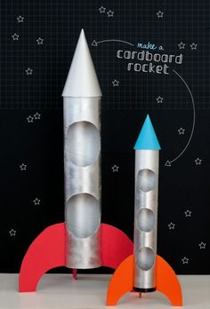 Easy DIY Cardboard Rockets for kids!  Your kids can even put little stuffed animals in the holes for them to drive the rockets.