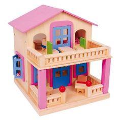 Een gezellig poppenhuis met 17 meubeltjes. Het dak kan worden afgenomen in 2 stukken het zit vast met magneten. Het balkon en het terras zijn uitgerust met houten pinnen en magneten, zodat kinderen meer mogelijkheden krijgen om mee te spelen.