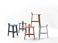 Low wooden stool, design by Guillaume Delvigne