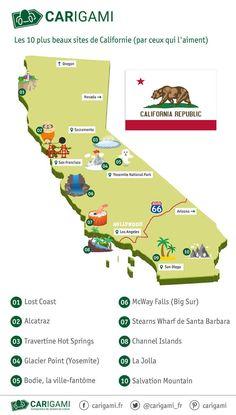 Carte touristique de la Californie.