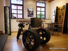 Steam trike Steampunk Bicycle, Cannon, Timber Wood