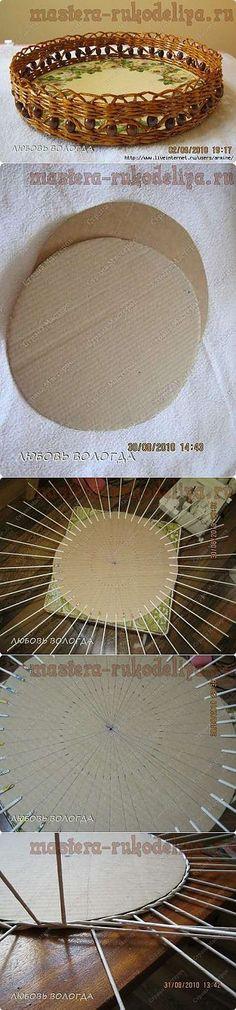 La Clase maestra por el tejido de los periódicos: Como hacer el fondo para la bandeja redonda.
