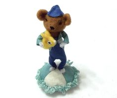 A Needle Felted Bear Pincushion All Handsewn by WildWoodHollow, $105.00