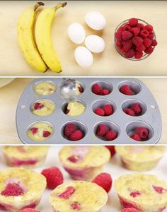 3 ingredient muffins that are … Flourless 3 Ingredient Banana Egg Muffins Recipe. 3 ingredient muffins that are low in fat but taste great! Baby Food Recipes, Dessert Recipes, Cooking Recipes, Baking Desserts, Dessert Food, Dinner Recipes, Mini Eggs Recipes, Baby Lead Weaning Recipes, Vegetarian Recipes