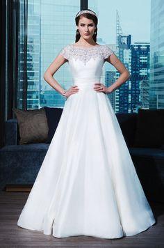Simple elegant beaded satin wedding dress by Justin Alexander Signature, 2015