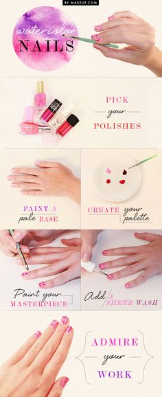 Beautiful watercolor nails - And perfect timing too, I was just planning to repaint mine for back-to-school.