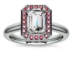 Emerald Halo Ruby Gemstone Engagement Ring in Platinum  http://www.brilliance.com/engagement-rings/halo-ruby-gemstone-ring-platinum