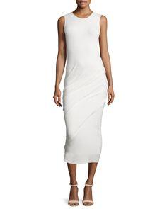 Sleeveless Ruched Midi Dress, Ivory