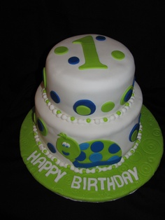Turtle First Birthday Cake - Was disappointed how the fondant turned out, but made this cake on a very hot day with no A/C at home