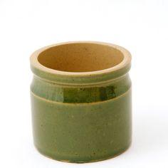 Stoneware Green Glaze Jar Pinch Salt Pot Container 2.75in Tall Vintage Excellent