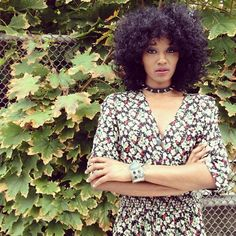 The lovely Ayana Blackman being a babe in our floral 90's jumpsuit.