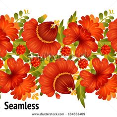 Seamless floral  pattern (traditional Ukrainian folk art, petrykivka painting) in vector on white background isolated - stock vector