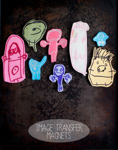 tutorial for transferring children's doodles onto polymer clay to save as refrigerator magnets from this heart of mine blog