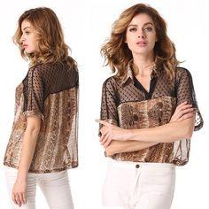 Fashion Women Women Sexy Turn-down Collar Transparent Net Yarn Short Sleeve Loose Casual Blouse T-shirt