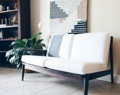 Mid Century Danish Modern Oak Love Seat, Mid Century Couch, 1950's Sofa, One arm sofa, Wood Sofa, Mid Century Furniture