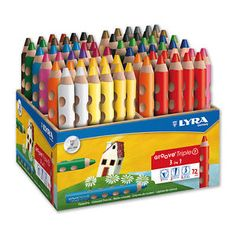 Ergonomic, triangular, triple colour pencil with the natural grip zones and bonded lead. Can be used as watercolour,crayon and coloured pencils. Pusheen Cute, Fancy Pens, Advent Calendars For Kids, Artist Pencils, Drawing Letters, Stationery Pens, Pretty Notes, Pen And Watercolor, Diy Canvas Art