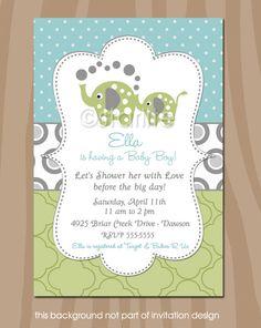 Elephant Showers - Aqua Sage Gray - Elephant Baby Shower Invitation - Gender Neutral - Baby Shower  - PRINTABLE DESIGN. $15.00, via Etsy.