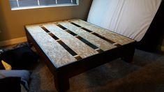 DIY Custom Rustic Bed Frame. Under $100 Budget. Easy build. DIY. Build it yourself. Do it yourself. Diy Bed Frame, Rustic Bedding, Diy Furniture, Budget, Sleep, Easy, Table, Instagram, Home Decor