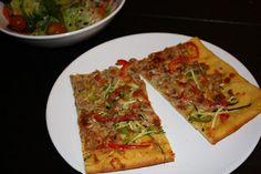Pizza de verdures i tonyina amb massa de carbassa