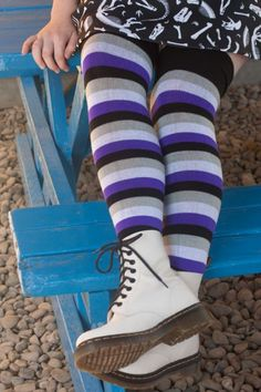Front view of the Dreamer Proud Stripes in Black/Grey/White/Purple, showing wide black cuff at over the knee height. Thigh High Leggings, Thigh High Socks, Women's Leggings, Tights, Geek Fashion, Funky Fashion, Womens Fashion, Teen Stockings, Ace Pride