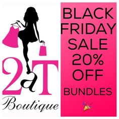 20% off bundles  Hi ladies, for Black Friday I am offering 20% off bundles of 2 or more items from my entire closet including sale items, PLUS FREE SHIPPING on bundles over $100  So come Stock up for the Holidays! sale starts now and ends tomorrow at midnight!!!  NO HOLDS!! Items must be purchased when I make you a listing  2 a T Boutique  Other