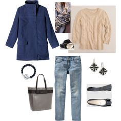 #51 Blue, Cream and Gray by bluehydrangea on Polyvore featuring J.Crew, Toast, Old Navy, Pierre Darré, Kate Spade, 1928, Madewell, Oasis, Tiffany & Co. and ballet flats