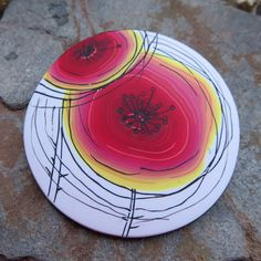 Simple summer poppy, polymer clay brooch
