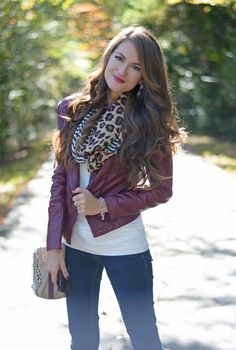 burgundy leather jacket…