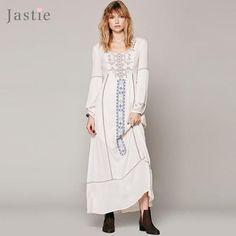 Jastie Embroidered Maxi Dress O-Neck Long Sleeve Women Dress Hollow Back Beach Bohemian Dresses Vestidos Hippie Chic Robe Femme
