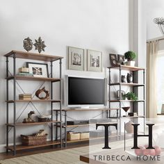 Tribecca Home Myra Vintage Industrial Modern Rustic 3-piece TV Stand/ 40-inch Bookcase Set | Overstock.com Shopping - Great Deals on Tribecc...