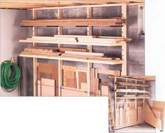 Lumber storage... link for the How-to:    http://www.woodworkingarchive.info/workbenches/lumber-rack.html