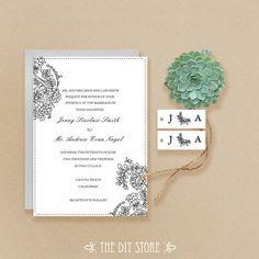 Romantic Classic Wedding Invitation DIY Digital Printable - Black Vintage Flower - Editable Template for Home Printing