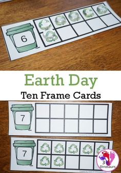 Easy To Use Earth Day Ten Frame Cards Free Earth Day Ten Frame Cards - two diff. - Easy To Use Earth Day Ten Frame Cards Free Earth Day Ten Frame Cards – two different types of ca - Earth Day Preschool Activities, Art Activities For Toddlers, Preschool Projects, Preschool Themes, Planets Preschool, Recycling Activities For Kids, April Preschool, Preschool Worksheets, Earth Day Projects