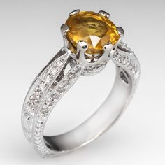 Cushion Cut Yellow Sapphire Engagement Ring Diamond Accents 14K White Gold