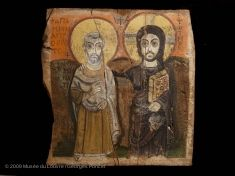Christ and Abbot Mena,  between 1345 BC and the death of the king in 1337 BC.   Louvre Museum   Paris