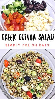 I am totally loving chilled quinoa lately, it has such a light bland flavor when chilled so it really takes on the flavor of all the ingredients you put in the salad which I love. Another huge bonus? Greek Recipes, Meat Recipes, Salad Recipes, Vegetarian Recipes, Healthy Recipes, Healthy Food, Greek Quinoa Salad, Macros Diet, Recipe Creator