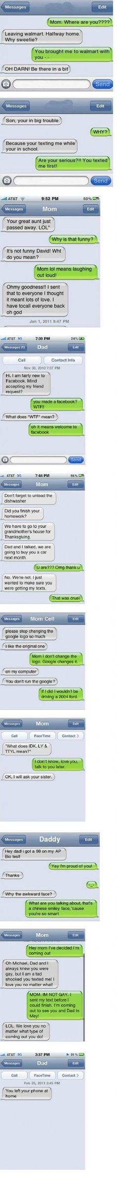 """Texting with parents. by Jimena Fischer. """"You left your phone at home"""" Ahahaha!!"""