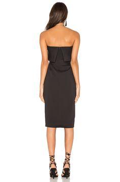 Lavish Alice Bandeau Cropped Tie Front Midi Dress in Black   REVOLVE