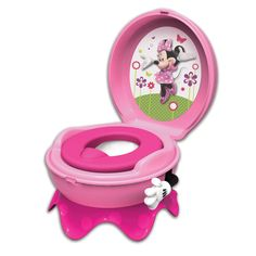 "MINNIE MOUSE 3-in-1 Celebration Potty System from The First Years  Celebrate potty time success in style with the Minnie Mouse 3-in-1 Celebration potty seat that's perfect for potty training your toddler. She'll receive positive reinforcement with ""hip-hip-hooray"" sound effects when she flushes and the soft seat provides additional comfort. This 3-in-1 system can be used as a stand-alone potty, detachable trainer seat for family toilet, and handy step stool."
