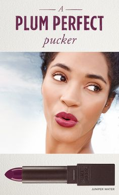 Illuminate any occasion with a 100% natural Lipstick shade in the plum family, like bright Brimming Berry or rich Juniper Water.
