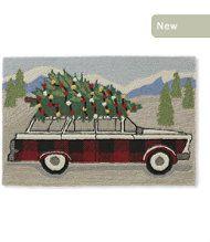 Indoor/Outdoor Vacationland Rug, Wagon with Tree