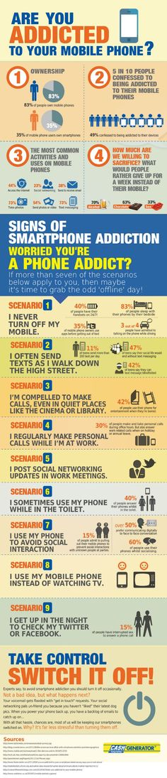 Are you addicted to your mobile phone? #infographic Well since only 1, 6, 8 and 9(only when I can't sleep) apply to me, I'm not addicted to my iPhone!! YESSS!!! ;)