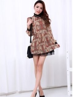 2013 Spring New Fashion Week Womens Geometric Patterns Long Sleeve Dress | eBay for $18.99