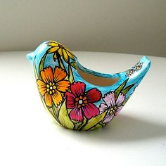 Ceramic Bird Planter Flower Garden Botanicals by sewZinski on Etsy, $40.00