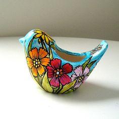 Ceramic Bird Planter Flower Garden Botanicals by sewZinski on Etsy, $40.00