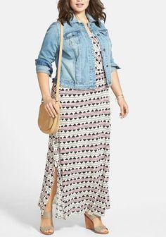 maxi dress with denim jacket